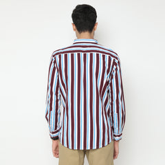 Andy Stripes Shirt Maroon Blue LS