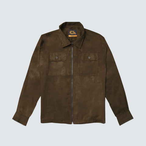 Harvey Suede Overshirt Jacket Pale Brown