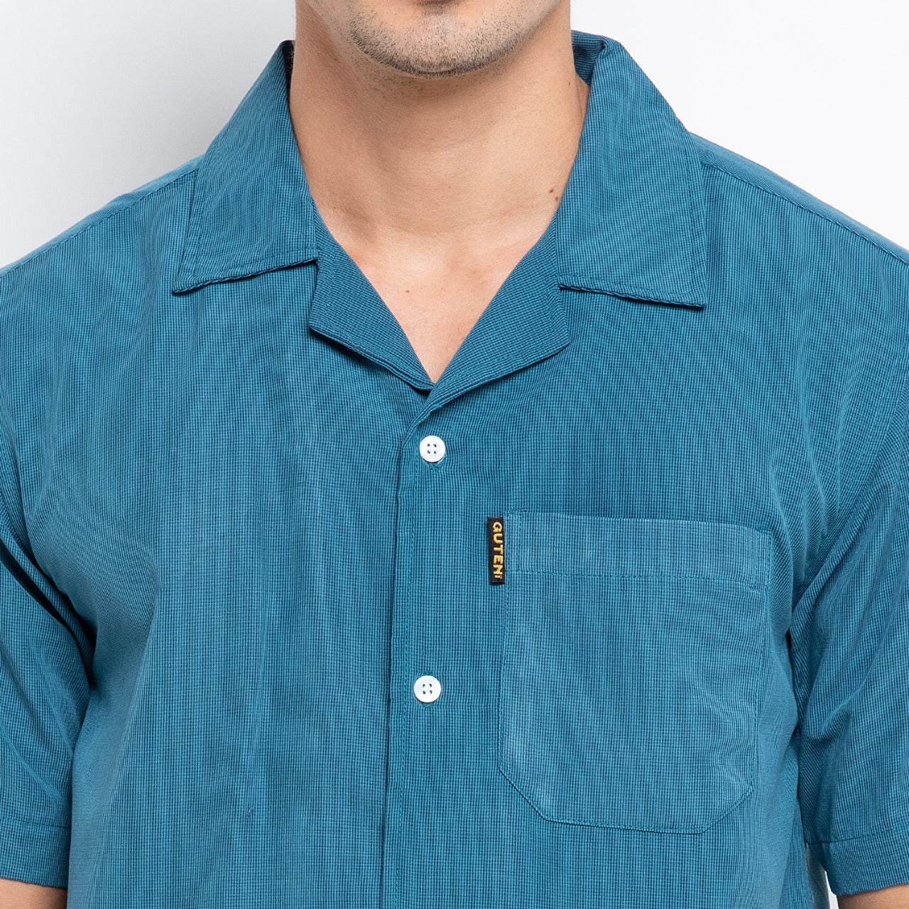 Rory Two Tone Blue Camp Collar Shirt