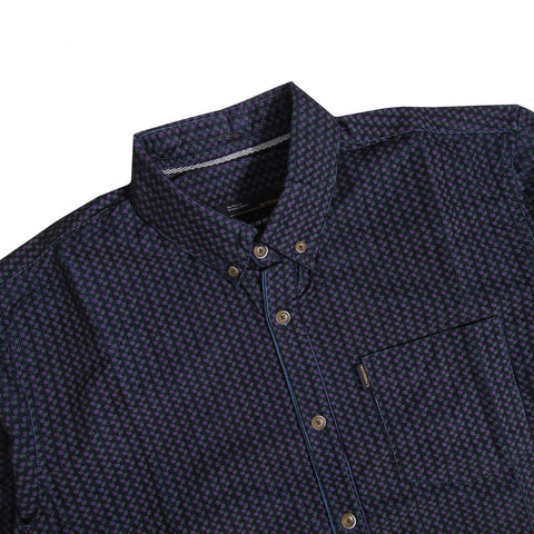 Lyon Corduroy Motive Blue Shirt