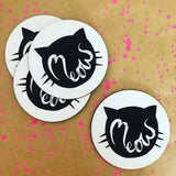 Set of Cat Meow face coasters