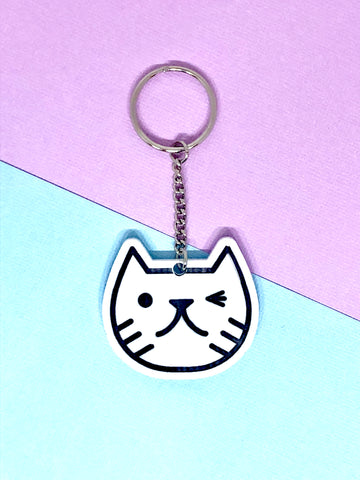 Cat face keyring white