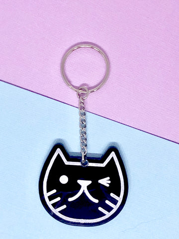 Cat Face Keyring black