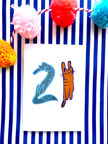 Cat Number Birthday Card 21