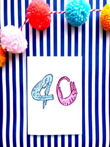 Cat Number Birthday Card 40