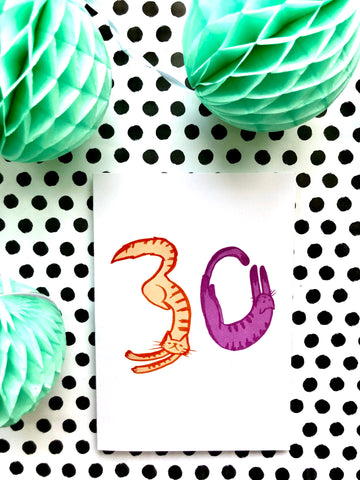 Cat Number Birthday Card 30