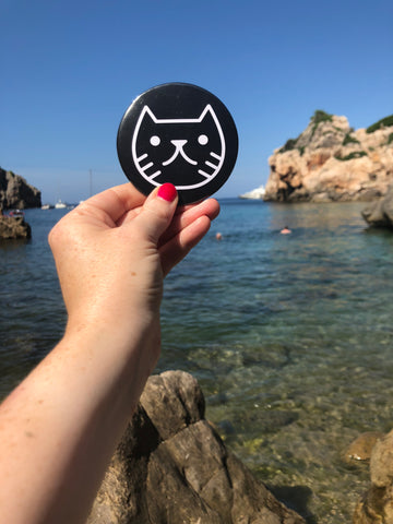 Cat face pocket mirror black