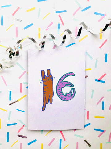 Cat Number Birthday Card 16
