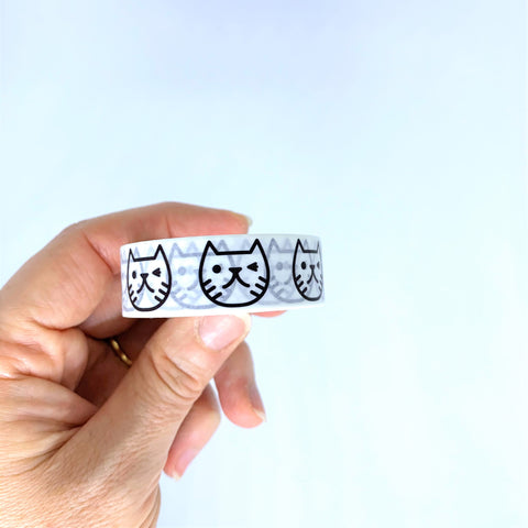 White Cat Face Washi Tape