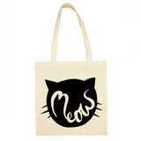 Image of a canvas tote bag featuring a bold illustration that says meow