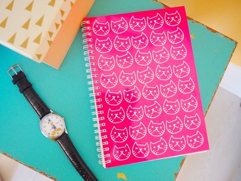 Cat face notebook pink