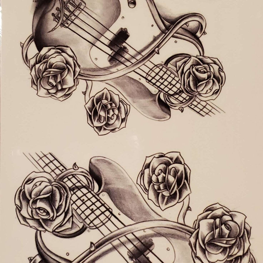 "Guitar Medium Multi Tattoo - 127- 7.5""x 3.5"""