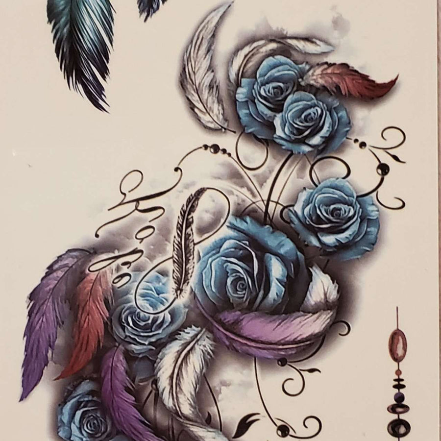 "Feather Rose Medium Multi Tattoo - 004- 7.5""x 3.5"""