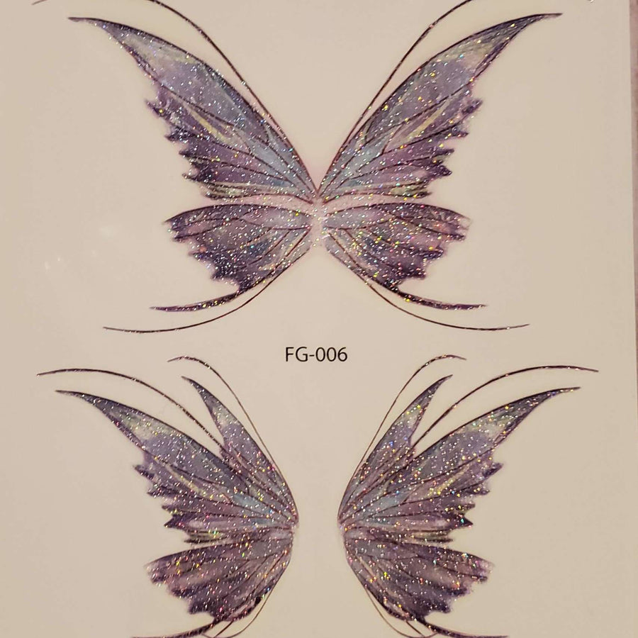 "Butterfly Wings Medium Multi Tattoo - 006 - 4.75""x 4.25"""