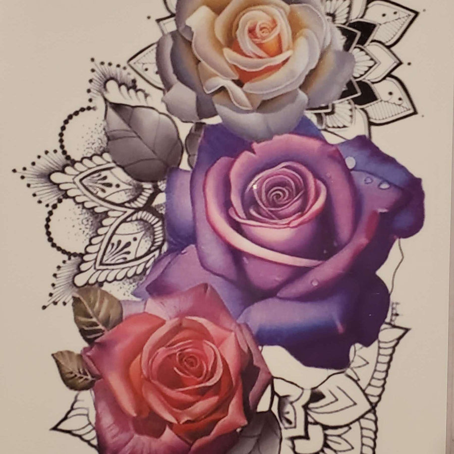 "Roses Medium Tattoo - 8134 - 7.5""x 4.75"""