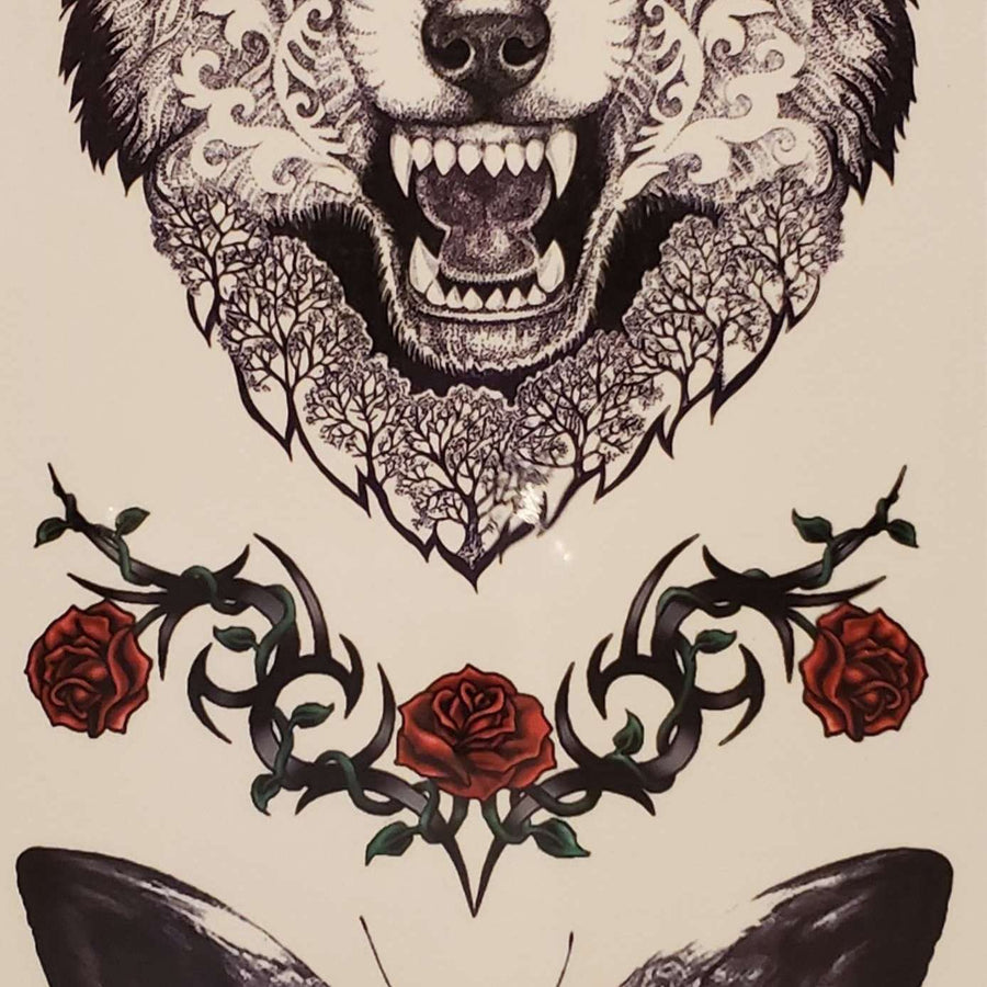 "Wolf/ Butterfly Medium Multi Tattoo - 098- 7.5""x 3.5"""