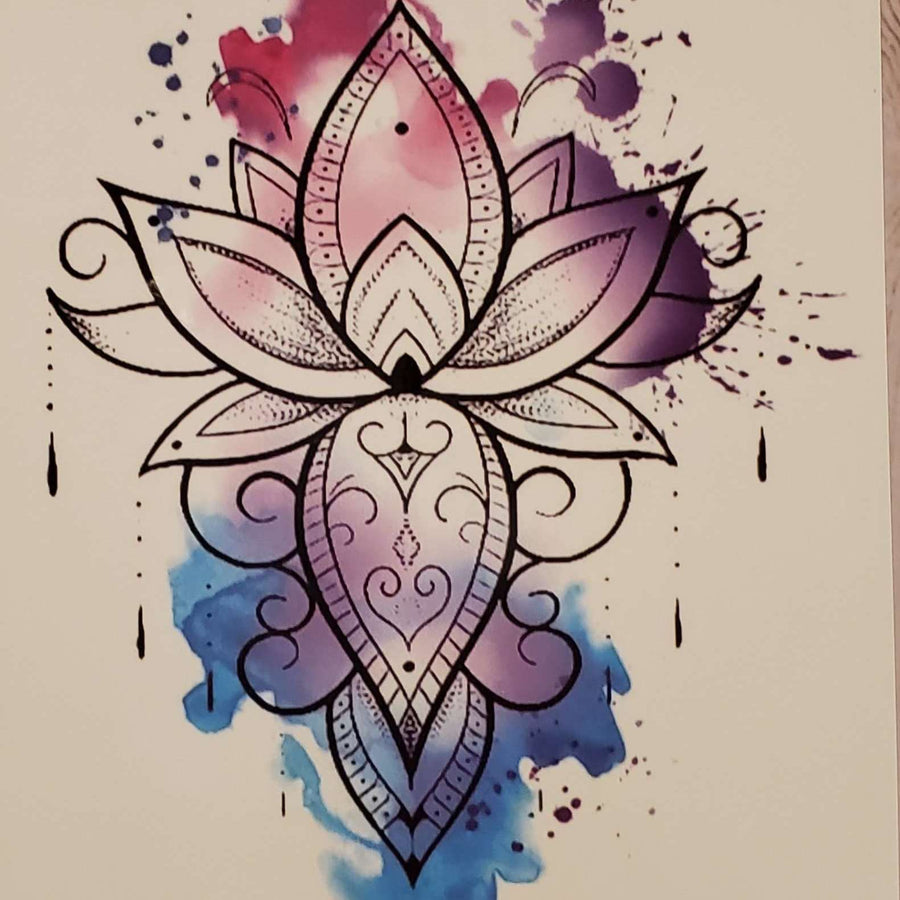 "Flower Medium Tattoo - 8145 - 7.5""x 4.75"""