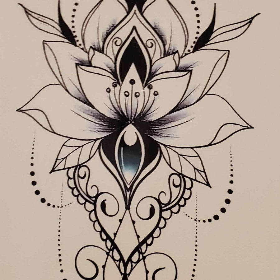 "B&W Flower Medium Tattoo - 911- 8.25""x 4"""