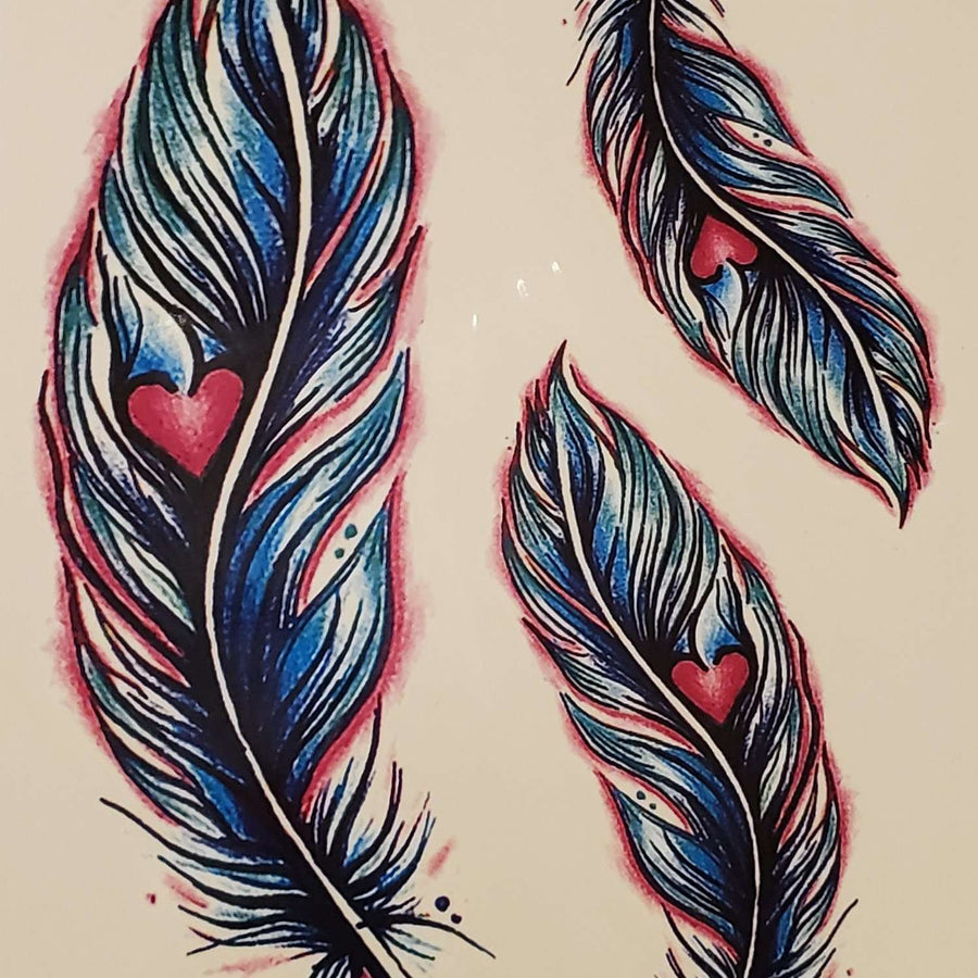 "Feather Heart Medium Multi Tattoo - 557 - 6""x 4.25"""