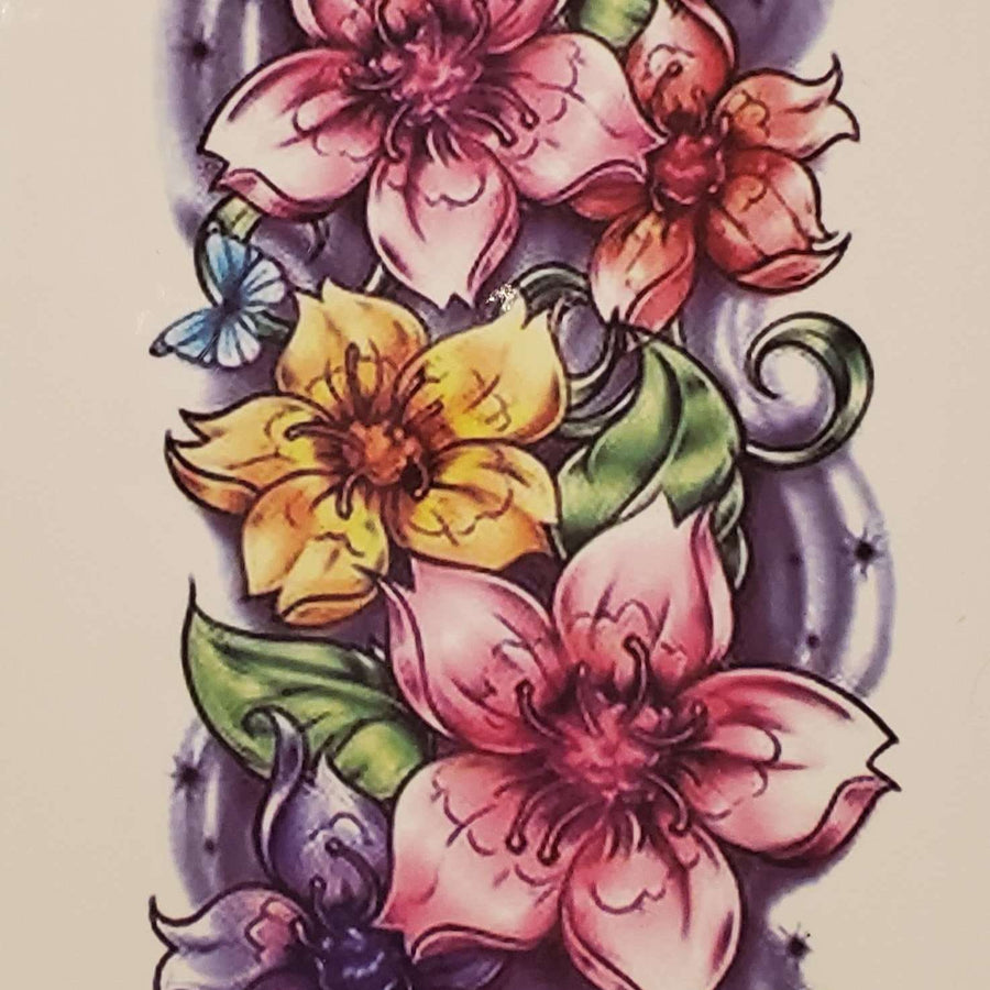 "Coloured Flowers Medium Tattoo - 230- 8.25""x 4"""
