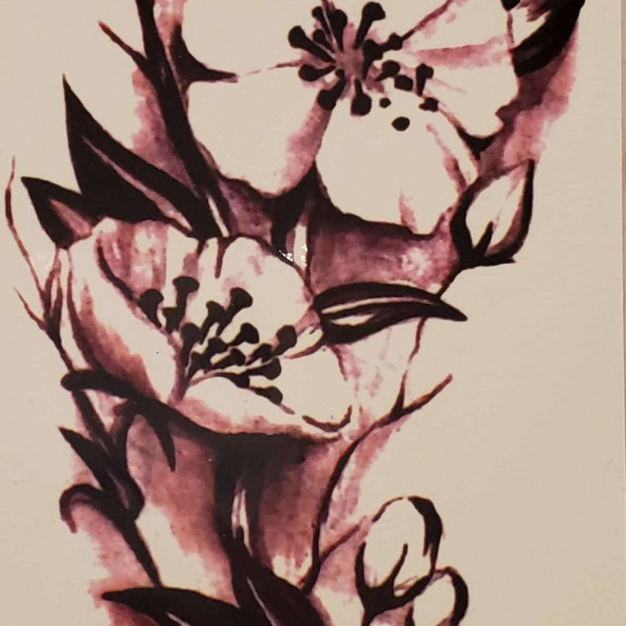 "B&W Flower Medium Tattoo - 663- 8.25""x 4"""