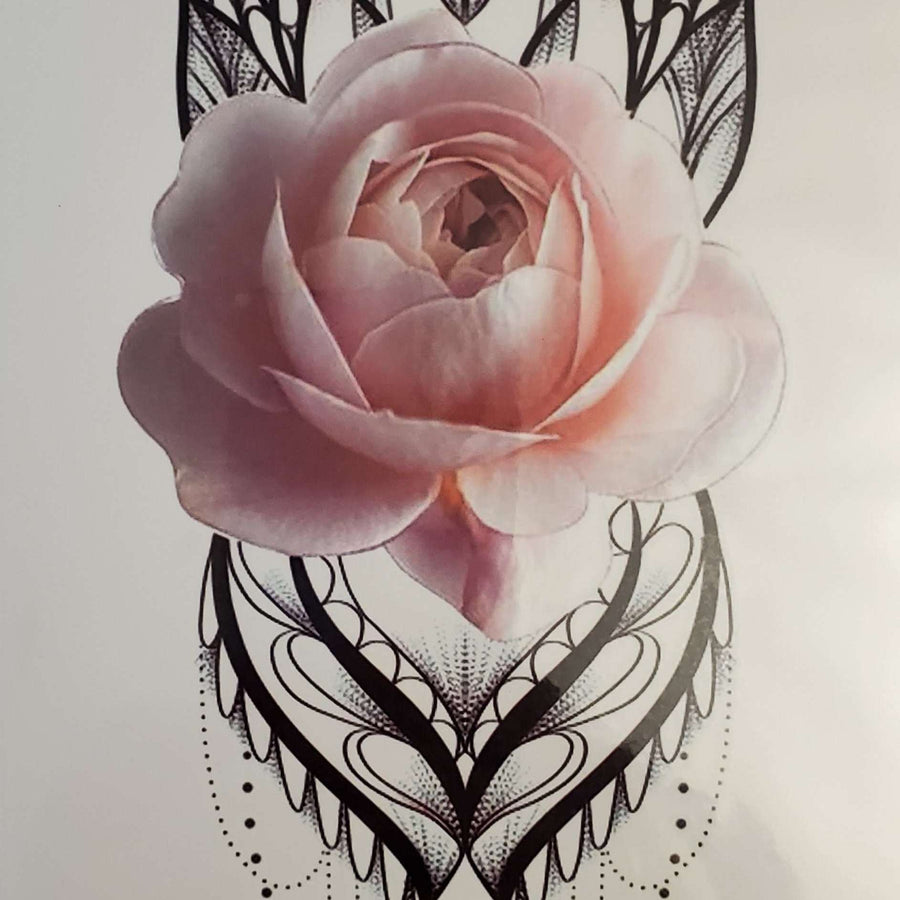 "Light Pink Rose- Medium Tattoo - 200- 8.25""x 4"""