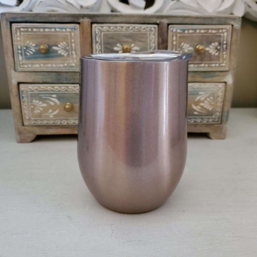 Light Rose Gold 12oz Wine Tumbler <p>- STRAW NOT INCLUDED (opt. below)
