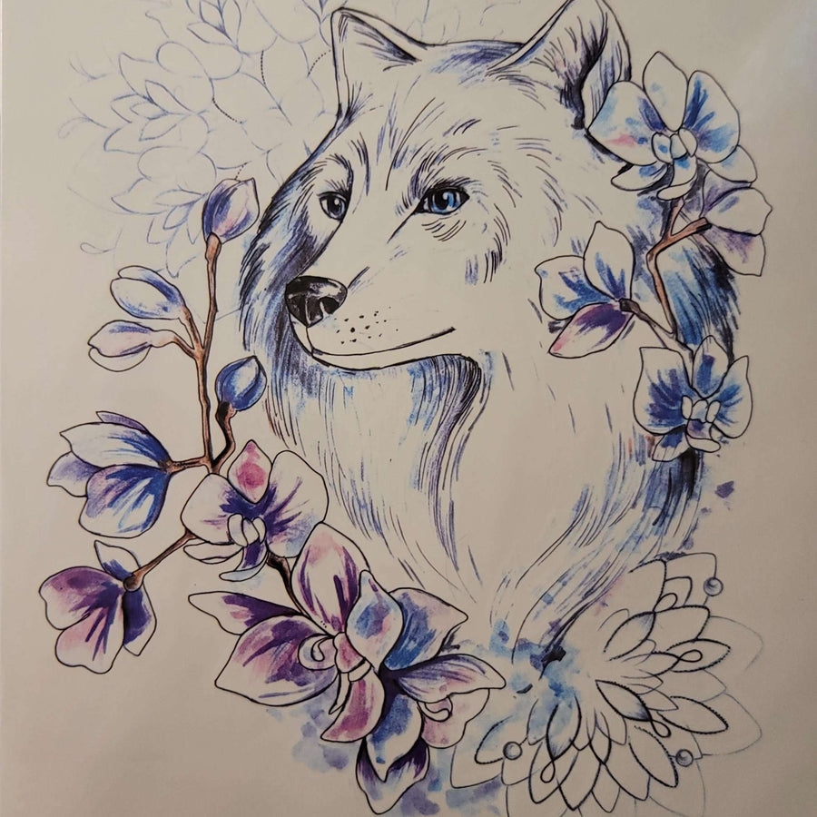"Blue Eyed Fox - 269 - 8""x 6"" Temporary Tattoo"