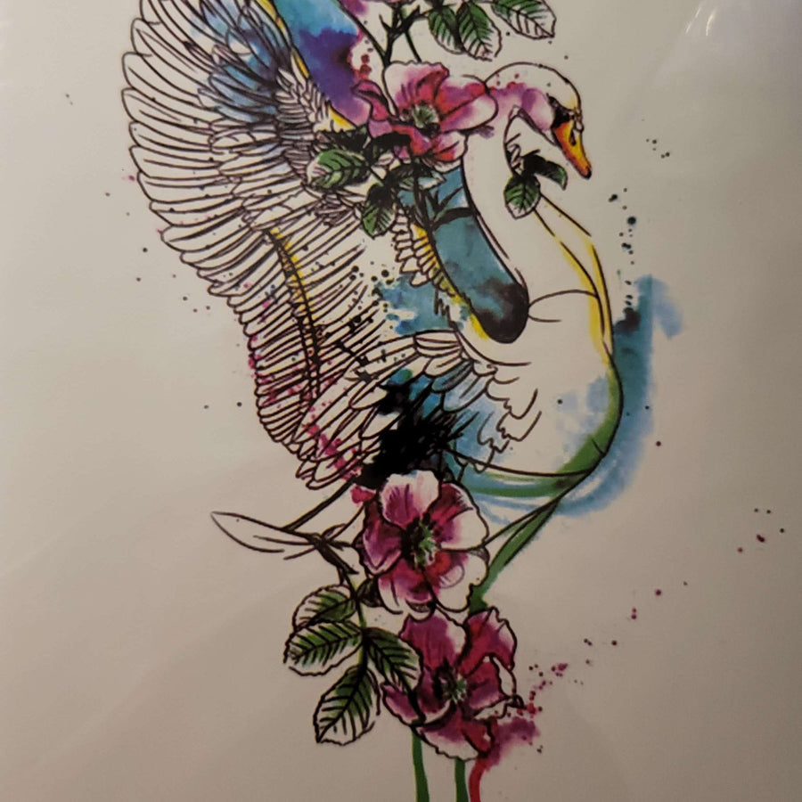 "Swan-  326 - 8""x 6"" Temporary Tattoo"