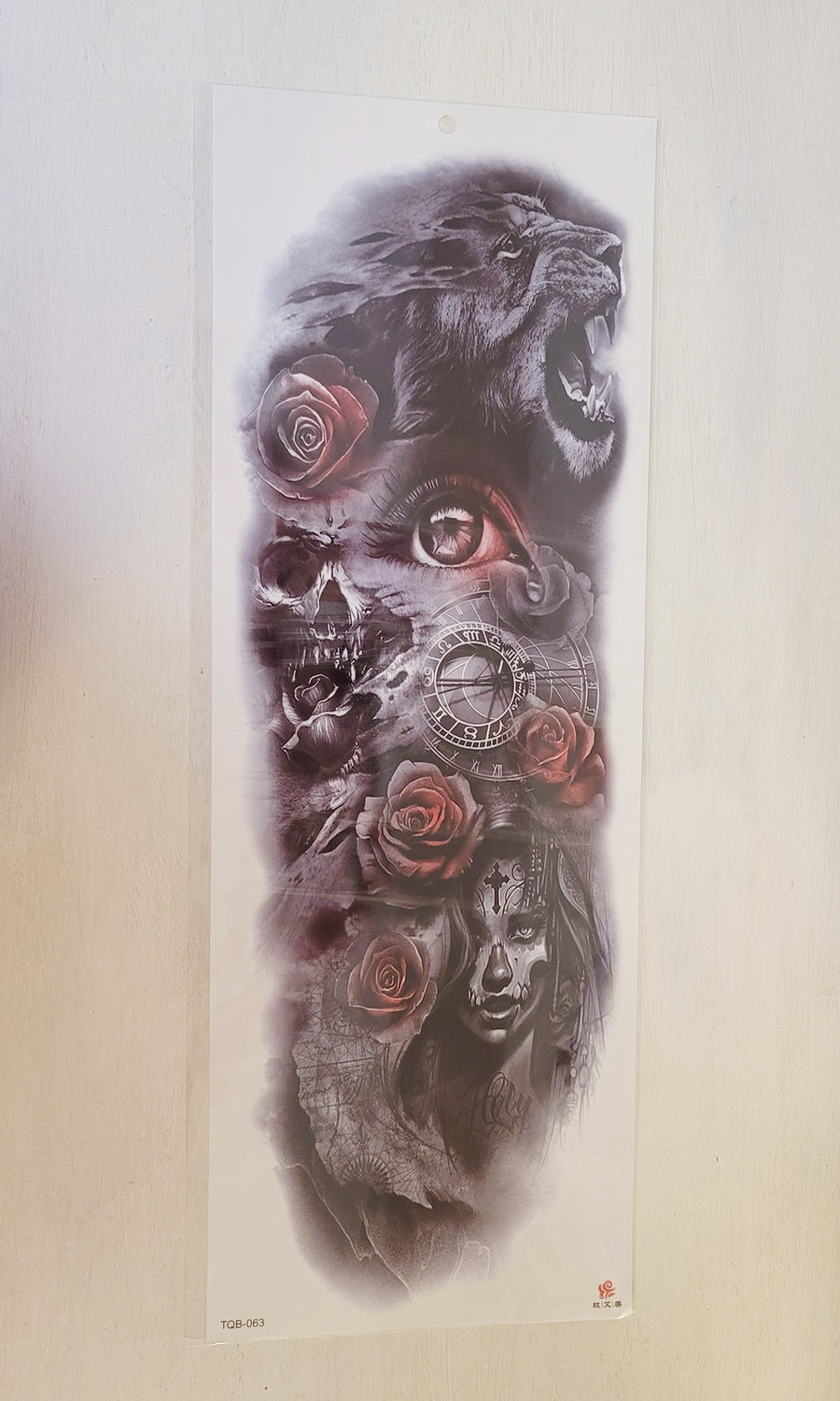 "Red Roses - 063 - 6.75"" x 18"" Temporary Tattoo"