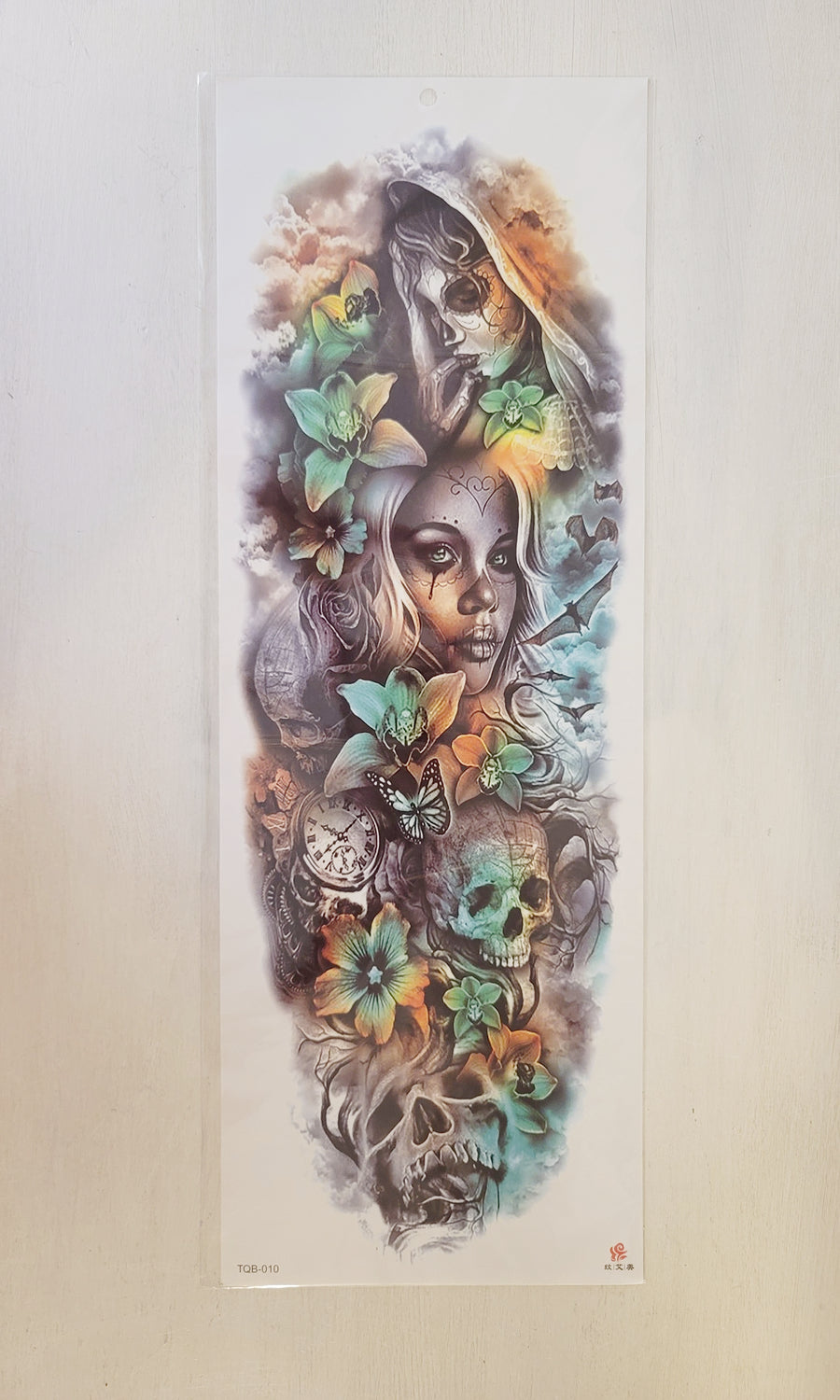 "Colorful Lady Skulls - 6.75""x 18"" Temporary Tattoo"