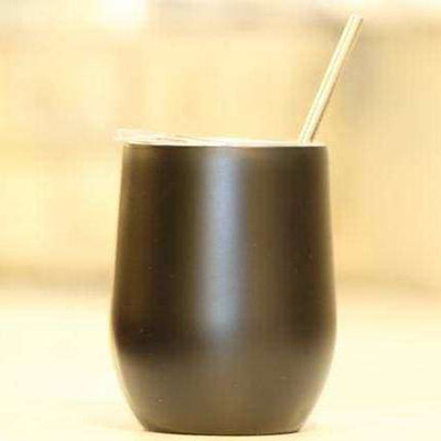 Matte Black Wine Tumbler (copper lined)<p>- STRAW NO INCLUDED (opt. below)