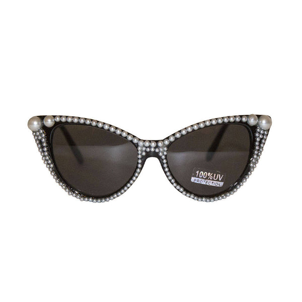 Black Cat Eye Retro Sunglasses With Embellished White Pearls