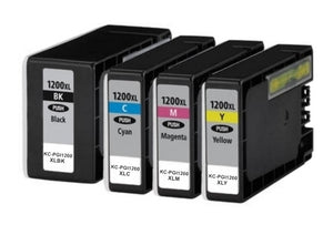 KC-PGI1200XLBK/C/M/Y Premium Compatible Ink Cartridge SET. Replacement for Canon MAXIFY MB2320, MB2020 , MB2120, MB2720