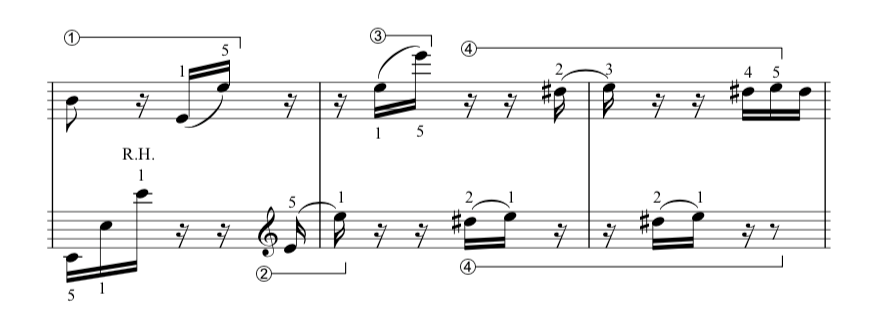 Fur Elise music sheet, bars 13-15 hands together.  Photo credit: the complete classical piano course.