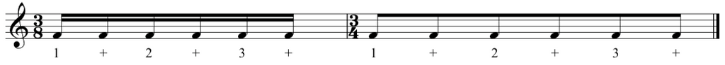 Excerpt taken from the complete classical piano course showing semiquavers becoming quavers