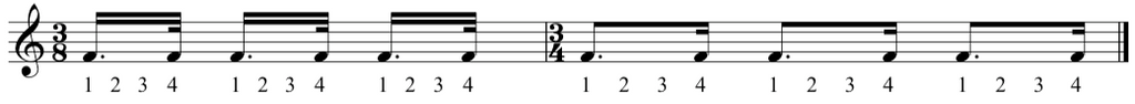 Excerpt taken from the complete classical piano course showing dotted semiquavers becoming dotted quavers