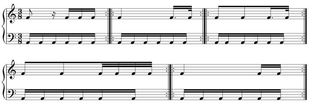 fur elise music sheet showing hand together for co-ordination practise.  Photo credit: the complete classical piano course.
