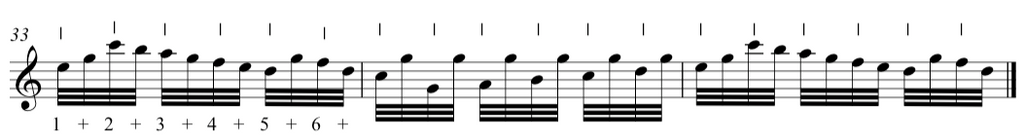Fur elise music sheet, bars showing how to double up the click so that each one feels and acts like a quaver.  Photo credit: the complete classical piano course.
