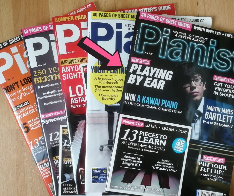 Pianist magazine showing the playing by ear series