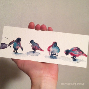 Original: Birds-Styles > Birds, Techniques > Original Watercolours, Size > Small (up to 21 cm\, eg. A5)-Rutheart