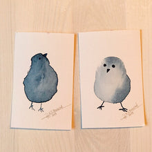 Load image into Gallery viewer, Tiny Bird Painting #18 (Duo)-Styles > Birds, Techniques > Original Watercolours, Size > Small (up to 21 cm\, eg. A5), Techniques > Cards > Tiny Bird Paintings-Rutheart
