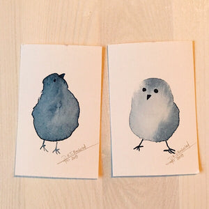 Tiny Bird Painting #18 (Duo)-Styles > Birds, Techniques > Original Watercolours, Size > Small (up to 21 cm\, eg. A5), Techniques > Cards > Tiny Bird Paintings-Rutheart