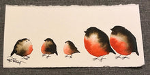 Load image into Gallery viewer, Family of Five-Styles > Birds, Techniques > Original Watercolours, Size > Small (up to 21 cm\, eg. A5), Techniques > Cards > Tiny Bird Paintings-Rutheart