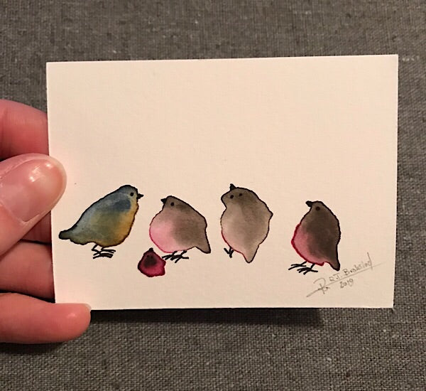 Tiny Bird Painting #17-Styles > Birds, Techniques > Original Watercolours, Size > Small (up to 21 cm\, eg. A5), Techniques > Cards > Tiny Bird Paintings-Rutheart