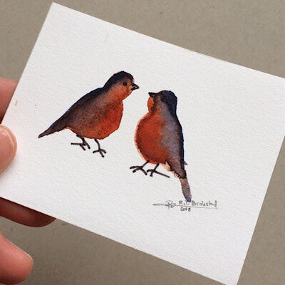 Tiny Bird Painting #4-Styles > Birds, Techniques > Original Watercolours, Size > Small (up to 21 cm\, eg. A5), Techniques > Cards > Tiny Bird Paintings-Rutheart