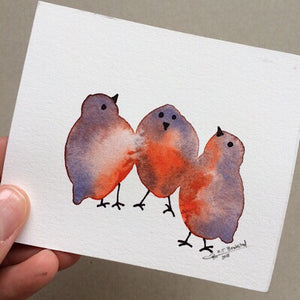 Tiny Bird Painting #9-Styles > Birds, Techniques > Original Watercolours, Size > Small (up to 21 cm\, eg. A5), Techniques > Cards > Tiny Bird Paintings-Rutheart