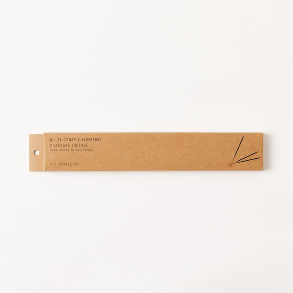 PF Candle Co Europe Cedar and Sagebrush scented incense sticks in kraft packaging