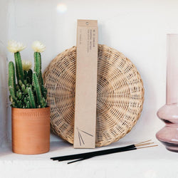 PF Candle Co Sunbloom incense package leaning against a white wall, between a potted cactus and pink glass with incense sticks laying in front