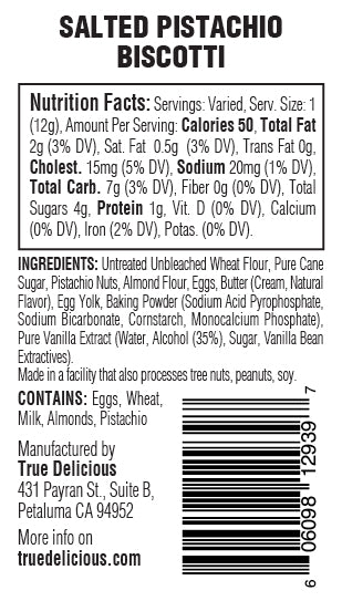 Salted Pistachio Biscotti Nutrition Facts